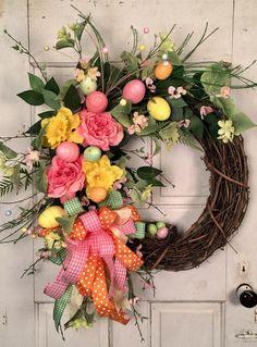 EASTER Wreath Spring Egg Wreath Ornament Wreath--MacKenzie-Childs Easter Egg Yellow