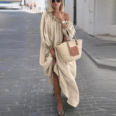 Classy Off-Shoulder Pure Colour Long Sleeve Casual Maxi Dress – Ratecuteonline Striped Maxi Dresses, Casual Dresses, Elegant Dresses, Sexy Dresses, Work Dresses, Skater Dresses, Beach Dresses, Dance Dresses, Formal Dresses