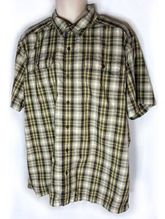 The North Face Shirt Mens XL XLarge Brown White Plaid Short Sleeve Polyester  #TheNorthFace #ButtonFront