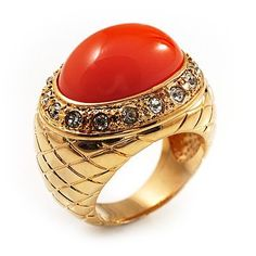 Gold Plated Orange Resin Dome Ring - Size 7 Avalaya. $24.30. Metal Finish: gold plated. Shape: dome. Occasion: anniversary, club night out, cocktail party. Gemstone: diamante. Material: resin