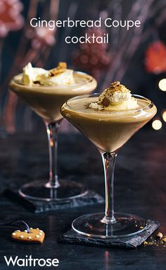 Try the Waitrose recipe for Gingerbread Coupe cocktail topped with whipped cream and crumbled gingerbread biscuits. Christmas Cocktails, Holiday Drinks, Christmas Recipes, Champagne Cocktail, Xmas Food, Cocktail Recipes, Drink Recipes, Yummy Drinks, Clean Eating Snacks