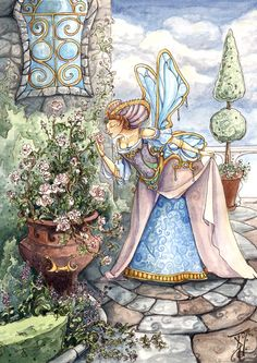 Fairy in a Garden of Roses by Tina Druce-Hoffman