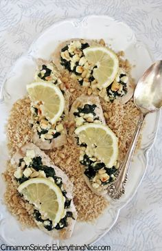 Chicken with Feta, Spinach and Pine Nuts