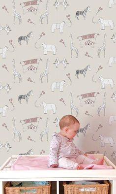 Roll up, roll up, the circus is coming to town. This beautiful circus themed paper will amuse and delight your little ones for years to come. Featuring delightful zebras, giraffes and elephants, t… Cheetah Print Wallpaper, Deer Wallpaper, Nursery Wallpaper, Kids Wallpaper, Nursery Wall Decals, Animal Wallpaper, Baby Girls, Cute Baby Boy, Baby Boy Rooms