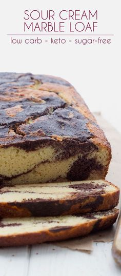 Tender low carb marble loaf cake made with sour cream and almond flour. This is a classic quick bread made to fit the keto lifestyle. Perfect for your breakfast or snack! via paleo dessert almond flour Keto Banana Bread, Best Keto Bread, Low Carb Bread, Low Carb Keto, Quick Bread, Blueberry Bread, Low Carb Desserts, Low Carb Recipes, Dessert Recipes
