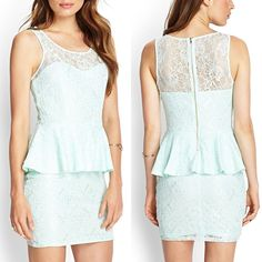 """Lace Peplum Dress in Mint This beautiful dress is perfect for spring and summer! The color is gorgeous! Sz: small. Waist 26"""", bust 32"""". Color: MiNT. Worn 1 time, still in perfect condition. Bundle up & SAVE even MORE! Forever 21 Dresses Mini"""