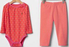 GAP Baby Girl Bodysuit 557125 Legging 557127 Coral Orange Cotton Dots 6-12 12-18 #babyGap #DressyEverydayHoliday #GAP557125 #GAP557127 #GAPbabygirlcoralstardotsleggingsbodysuit