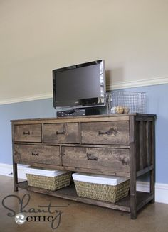 Pottery Barn Inspired DIY Dresser : DIY dresser/tv stand - love this, a bit too rustic for my style, but with a darker wood stain it would work fabulously! Dresser Tv Stand, Dresser With Tv, Dresser Top, Muebles Living, Pottery Barn Inspired, Home And Deco, Home Living, My New Room, Home Furniture