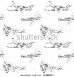 Propeller airplanes vector drawings seamless pattern