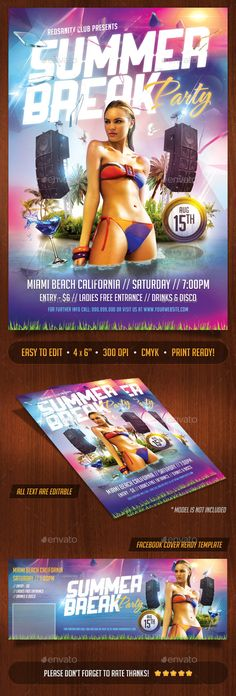Summer Break Party Flyer Plus FB Cover Template #design Download: http://graphicriver.net/item/summer-break-party-flyer-plus-fb-cover/12174067?ref=ksioks