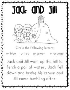 Nursery Rhymes on Jack And Jill Sequencing Activity Cards