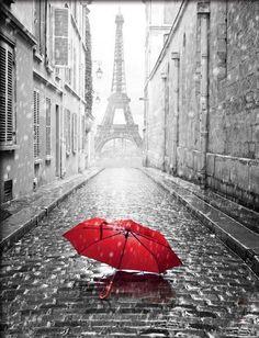 Paris souvenir Red Umbrella Painting