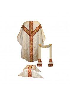 Gothic Style Low Mass Set - Cream 'Gothic' silk damask