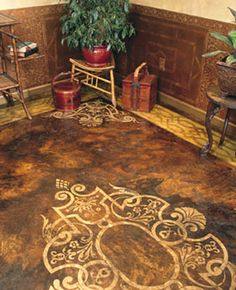 faux painted concrete floors .. really would love to try this on my plain concrete floor in the tv room downstairs!