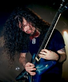 """""""Dime"""", A.K.A. """"Dimebag Darrell""""; Pictured Here, Playing His Trusty Dean """"Lightning"""" Model, Which He Used On A REGULAR Basis, UNTIL It Was STOLEN; Then He Went To Washburn, And They, As He Put It: """"Made The Guitar Of My Dreams!""""..... ;)"""