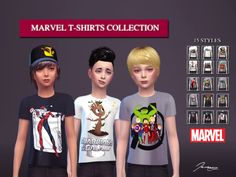 """jeremysims92: """" Marvel T-Shirts Collection 3 colors - 15 styles Hairs by Maysims Please do not re-upload. Please do not use my textures. Please do not modify my clothes and claim them as your own. DOWNLOAD - TSR """""""