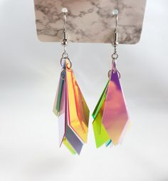 Long drop earrings with pretty holographic sequins. Base of the earrings and rings used are made from stainless steel Statement Earrings, Drop Earrings, Geek Gifts, Chainmaille, Sell On Etsy, Holographic, Etsy Earrings, Fashion Earrings, Iridescent
