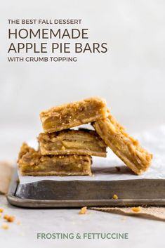 These apple pie bars with crumb topping are easier than making an apple pie, and are the perfect make ahead, crowd pleasing summer or fall dessert! Make these for your next gathering to celebrate, what makes it easier is have an American Classic that you can easily eat with your hands. #ApplePie #ApplePieBars #FallDesserts #FrostingandFettuccine