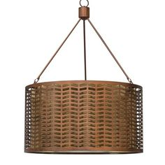 Iron and burlap shade. 60 W; Plug-in pendant with inline switch. 22' average length of cord from pendant to socket.  Weight 26 lbs.