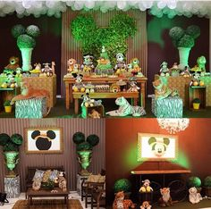 2nd Birthday Party Themes, Safari Birthday Party, Jungle Party, First Birthday Parties, Minnie Safari, Mickey Minnie Mouse, Safari Party Decorations, Lion King Party, Festa Toy Story