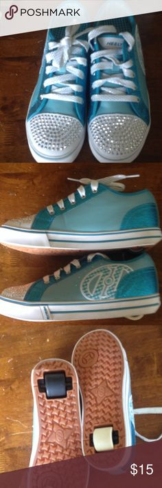 SALE Heelys Light blue Heely's.  Sparkled and glittered worn maybe three times.   Wheels are two different colors as shown In pictures. Heely Shoes Sneakers