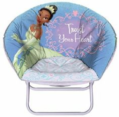 "Princess Tiana mini saucer chair, ""I'm going to call it 'Princess Tiana's baby couch for Lauren and me."