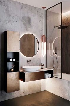 Concrete minimalist modern bathroom with industrial pendant light, floating vani. Concrete minimalist modern bathroom with industrial pendant light, floating vanity, and round mirro Latest Bathroom Designs, Modern Bathroom Design, Bathroom Interior Design, Bath Design, Washroom Design, Vanity Design, Industrial Bathroom Design, Modern Design, Sink Design
