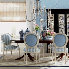 Get dining room decorating ideas from Ethan Allen designers! See how they put traditional and modern dining room sets together. French Country Dining Room, French Country Decorating, Country French, Modern Country, Dining Room Design, Dining Room Furniture, Black Furniture, Dining Chair Set, Accent Furniture
