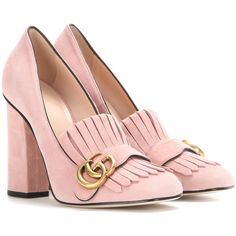 Gucci Suede Loafer Pumps ($790) ❤ liked on Polyvore featuring shoes, heels, gucci, pumps, pink, pink shoes, suede shoes, suede loafers and heeled loafer shoes