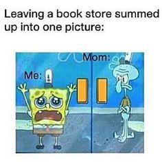 Leaving a bookstore.