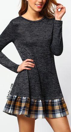 Grey long sleeve contrast plaid dress. Women, Men and Kids Outfit Ideas on our website at 7ootd.com #ootd #7ootd