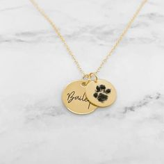 Custom Dog Paw Necklace - Paw Print Necklace Dog Necklace, Pet Paws, Or Rose, Rose Gold, Cat Names, Necklace Lengths, Custom Jewelry, Your Pet