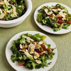Delicious Arugula, Red Grape, and Shaved Manchego Salad (and 10 More Salad Ideas for Thanksgiving, or any time you need a great salad for a special meal.) [from KalynsKitchen.com] #ArugulaSalad