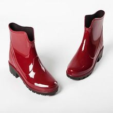 Multi-colores nueva moda mujeres PVC botas antideslizantes corto tobillo Rainboots impermeables zapatos de agua Wellies #ZJ185(China (Mainland))