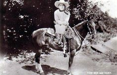 Tom Mix, Film Actor (Movie Star) - (1880-1940) -  Born in the U.S.A. (America). Full name was Thomas Hezikiah Mix. The original  western star, who played a cowboy in many silent films, and a few 'talkies'. Picture of Tom Mix & his horse Tony.