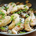Chicken and Mushrooms in a Garlic White Wine Sauce (Use Brown rice flour) Squeeze lemon over just before serving