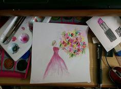 water color- flower-woman- shivart