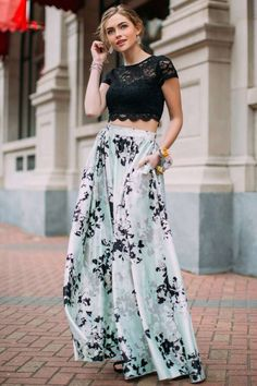 Jade Floral Skirt Two Piece Prom Dress