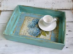 Serving tray, Shabby chic serving tray, Wood tray, Kitchen tray, Ottoman tray, Coffee table tray, Decoupage tray by InnaHandMade on Etsy https://www.etsy.com/listing/213811634/serving-tray-shabby-chic-serving-tray