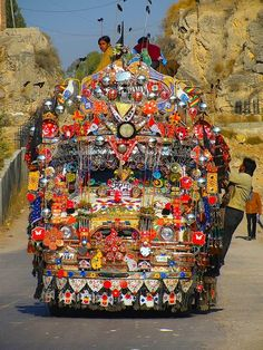 Indian truck art gone wild!  Can the driver even see where he's going?