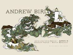 La bellezza dei poster del rock -Andrew Bird, 9 aprile 2012, Seattle (Washington)