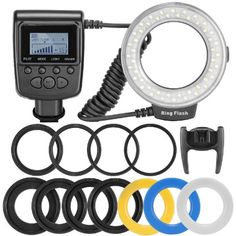 Neewer 48 Macro LED Ring Flash Bundle with LCD Display Power Control, Adapter Rings and Flash Diffusers for Canon 750D 700D 650D,600D,550D,70D,60D,5D Nikon D5300,D3300,D5200,D3200,D7200,D7100,D800,D60
