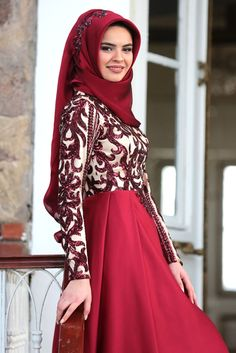 Hilal Baş Bordo Aymira Kabarık Tesettür Abiye Elbise Hijab Abaya, Niqab, Style, Fashion, Stockings, Swag, Moda, Fashion Styles, Fashion Illustrations