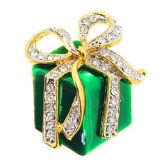 Green Christmas Giftbox with Gold Bow Brooch Pin