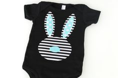 Easter Bunny Stripe Black and White