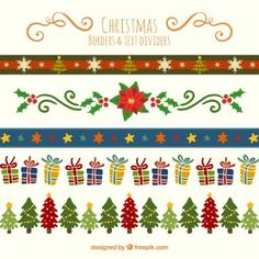 Bordes y divisores de texto en estilo navideño