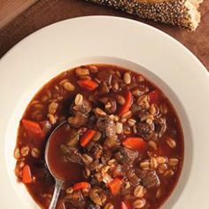 Quick-cooking barley and sirloin help get this beef-and-barley soup on the table in a snap—and it doubles easily.