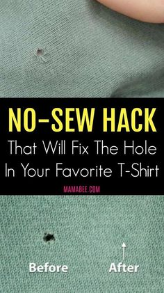 No-Sew Hack That Will Fix the Hole in your Favorite T-Shirt. I love this!  I should have thought of it!