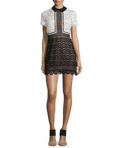 Felicia Collared Lace Dress, Black/White - Self Portrait