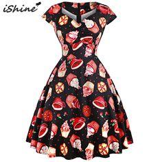 iShine Plus Size Women Vintage Cake Print Dress Hepburn V Neck Retro  Rockabilly Robe Swing Party Dresses Vestidos b37d70e518c6
